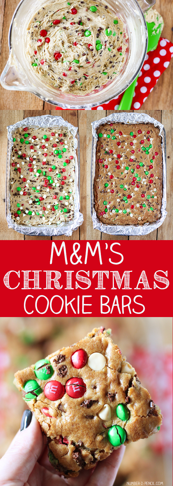 M&M'S Christmas Cookie Bars 50 mins to make, makes 18-36